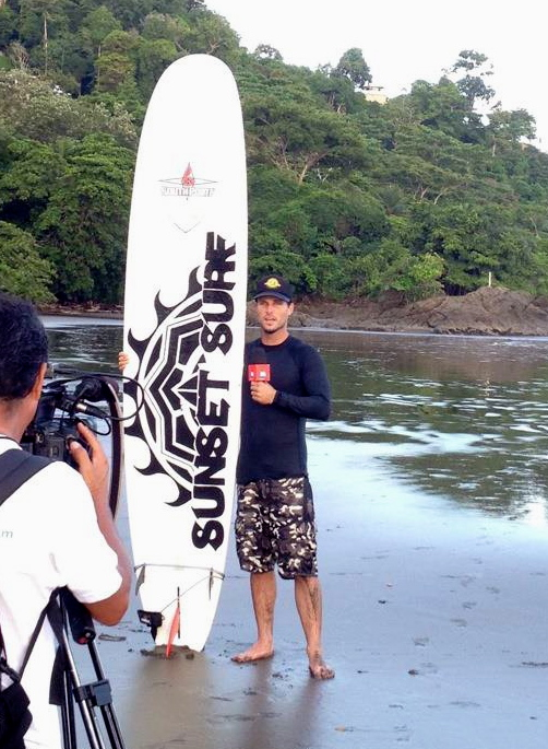 Costa Ricas premiere surf camp gets a T.V. interview